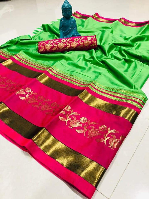 Didi Green & Pink Stylish Soft Cotton Silk Saree With Blouse Piece ( Chidiya-Green-Pink )