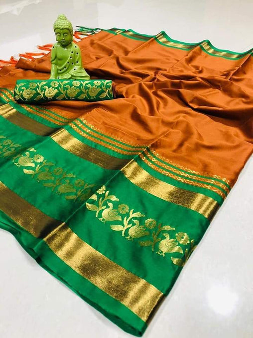 Didi Orange & Green Alluring Soft Cotton Silk Saree With Blouse Piece ( Chidiya-Orange-Green )