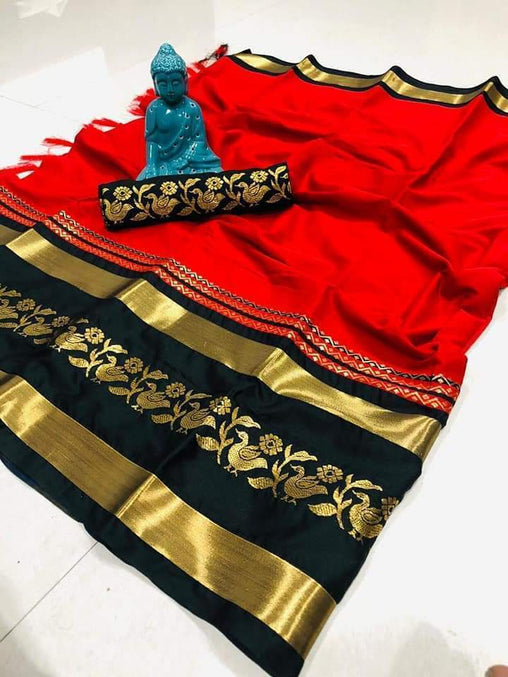Didi Red & Black Gorgeous Soft Cotton Silk Saree With Blouse Piece ( Chidiya-Red-Black )