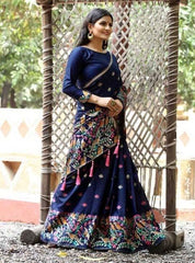 DARK BLUE SILK JACQUARD SAREE WITH MULTICOLOR FLORAL PRINT