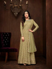 Maisha parrot  Designer Anarkali dress with heavy Embroidery Weeding wear