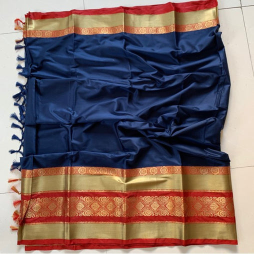 Didi Blue Blooming Soft Cotton Silk Saree With Blouse Piece ( Roshni-Blue )
