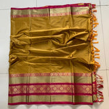 Didi Mustered & Red Attractive Soft Cotton Silk Saree With Blouse Piece ( Roshni-Mustered-Red )