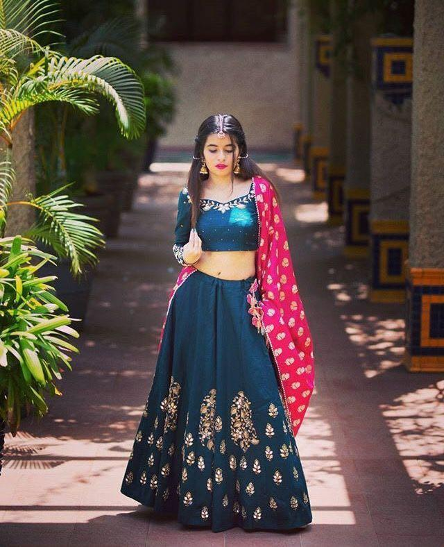 Blue & Pink Wonderful Lehenga Choli With Dupatta
