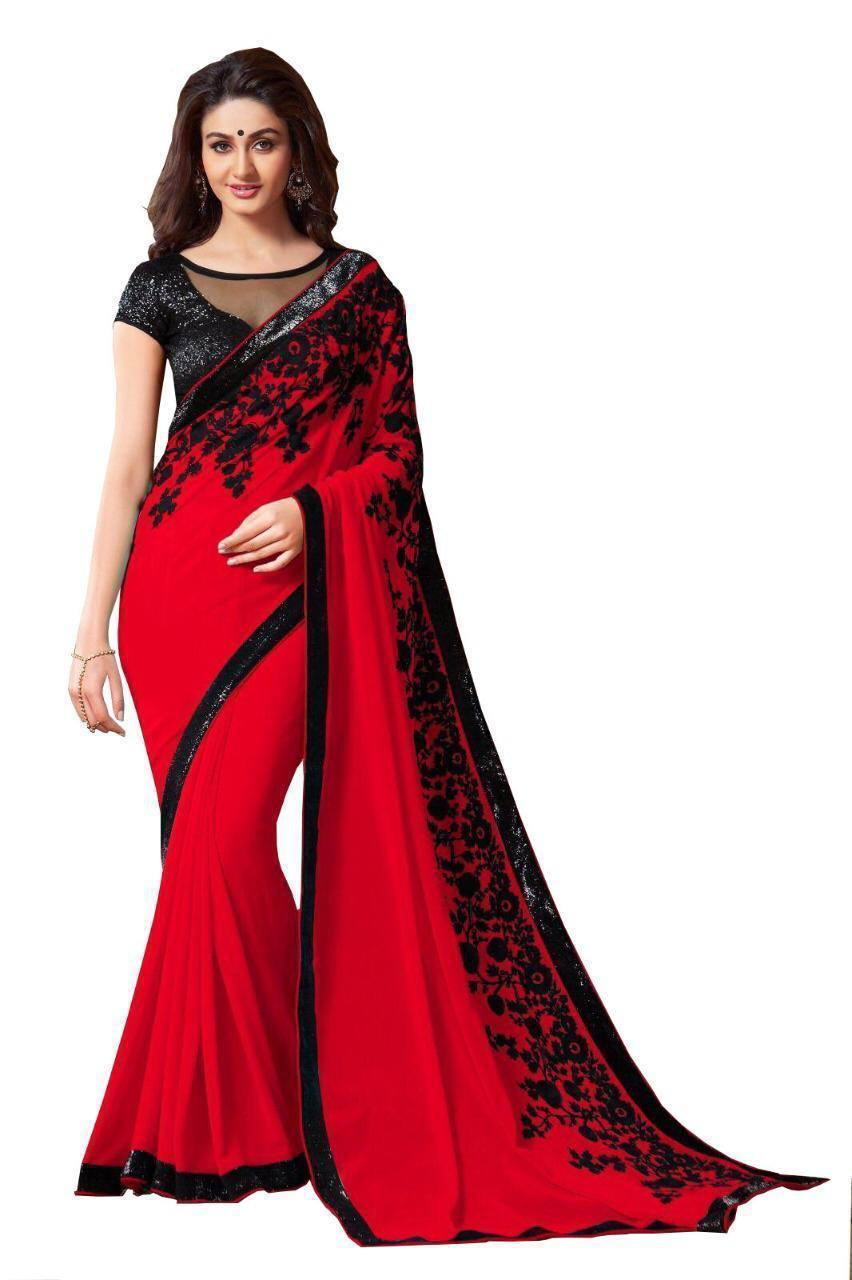 Mitroxi designer georgette Saree with blouse piece