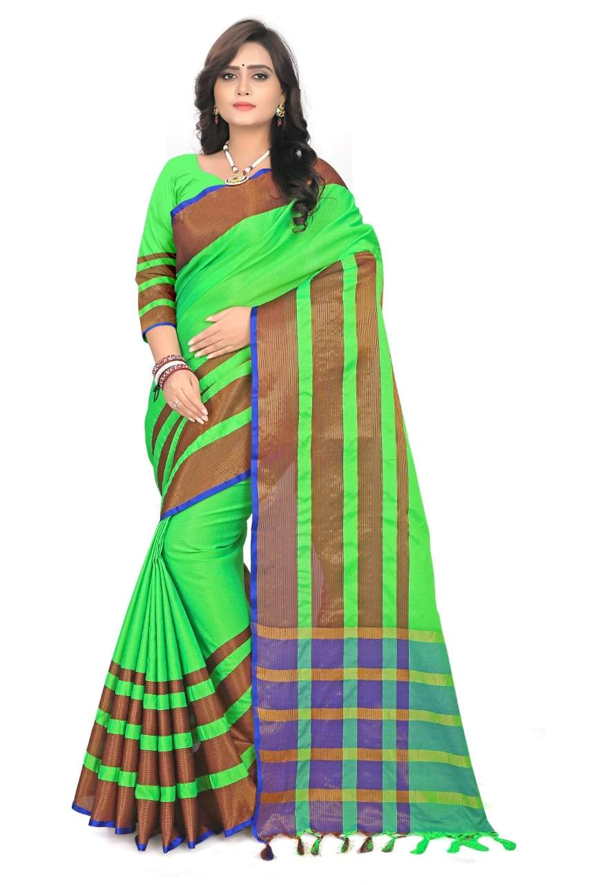 New designer Pure cotton  soft silk saree with blouse piece
