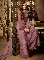 BEAUTIFUL  Purple Embroidered DESIGERN DRESS