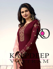 BEAUTIFUL EMBROIDERED WORK DESIGNER DARK MAROON COLOUR DRESS