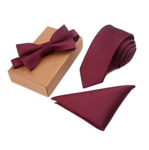 Slim Tie Set Men Bow Tie and Pocket Square