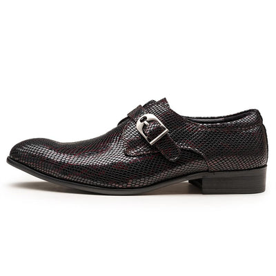 Snake Pattern Leather Men's Monk Strap