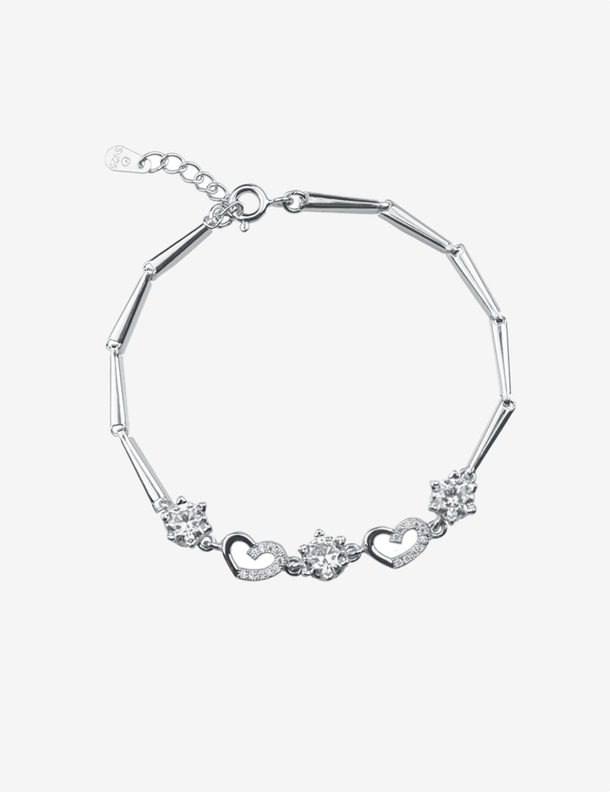 Love Charm with Cubic Zirconia Tennis Bracelet