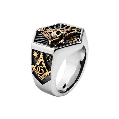 Men's Hexagon Skull Ring