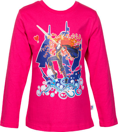 Girls Cerise Long Sleeve Top with Pirate Queen Full Colour Print