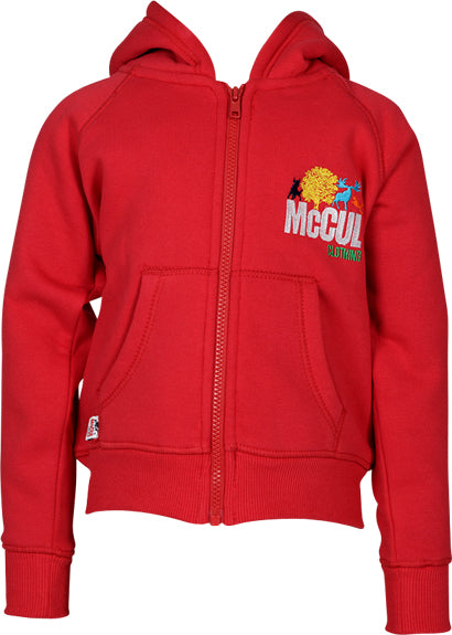 Boys Red Fleece Zip Hooded Jacket with Embroidery