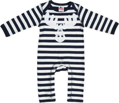 Babies Navy/White Stripe Soft and Stretchy Rompasuit with Flock Cartoon Elk