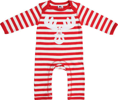 Babies Red/White Stripe Soft and Stretchy Rompasuit with Flock Cartoon Elk