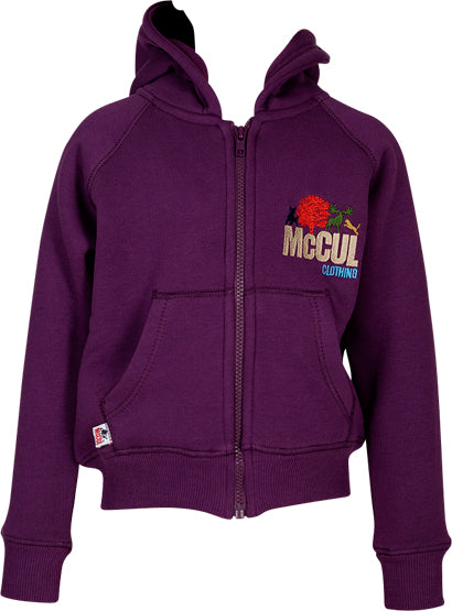 Girls Aubergine Fleece Zip Jacket with McCul Embroidered Logo