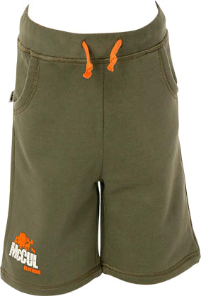 Boys Olive Fleece Shorts with Embroidered Logo