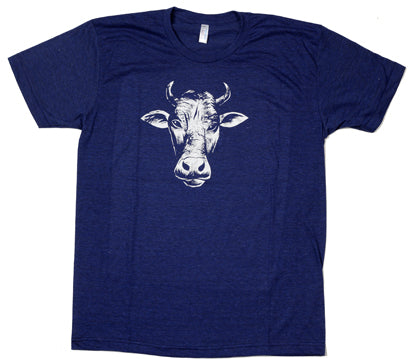 Mens Navy Super Cool Marl Cotton T-Shirt with One Colour Print