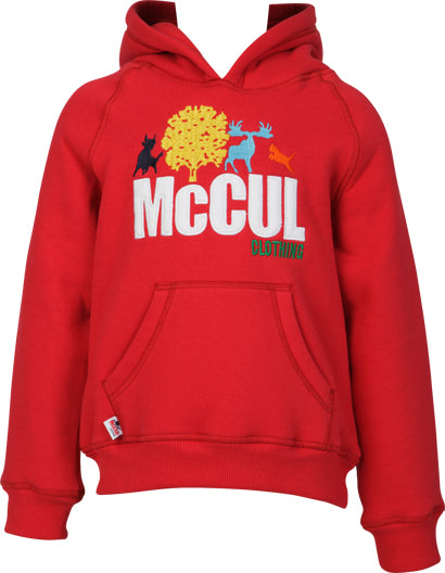 Girls Red Fleece Hooded Top with McCul Embroidered Logo