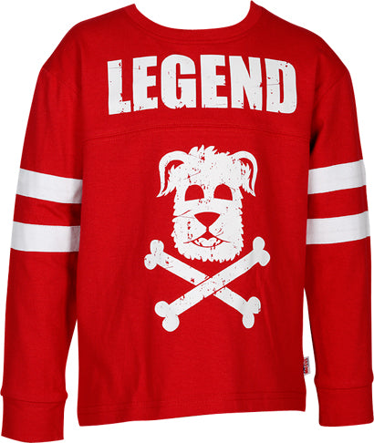 Boys Red Long Sleeve Top with Print on Front