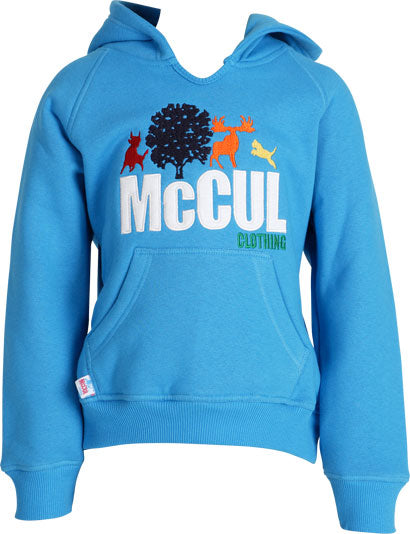 Boys Turquoise Fleece Hoody with Multi Colour McCul Embroidered Logo