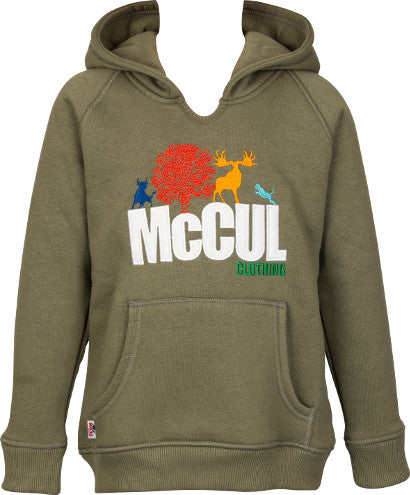 Boys Olive Fleece Hooded Top with McCul Embroidered Logo