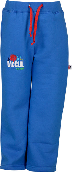 Boys Electric Blue Fleece Jog Pants with McCul Embroidery