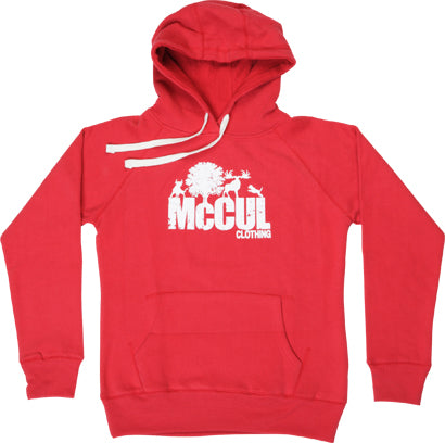 Ladies Red Slim Fit Heavyweight Fleece Hoody with Flock Print