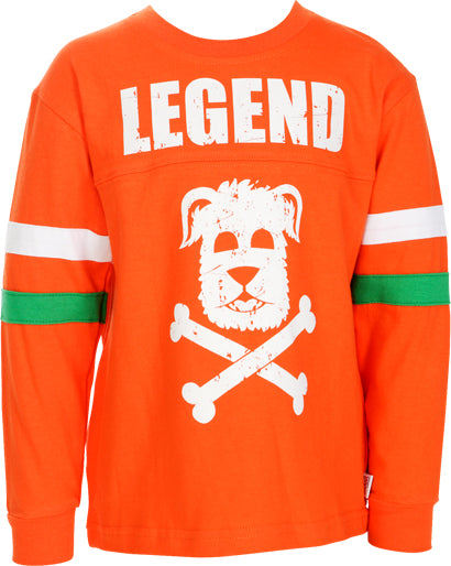 Boys Orange Long Sleeve Top with Print on Front