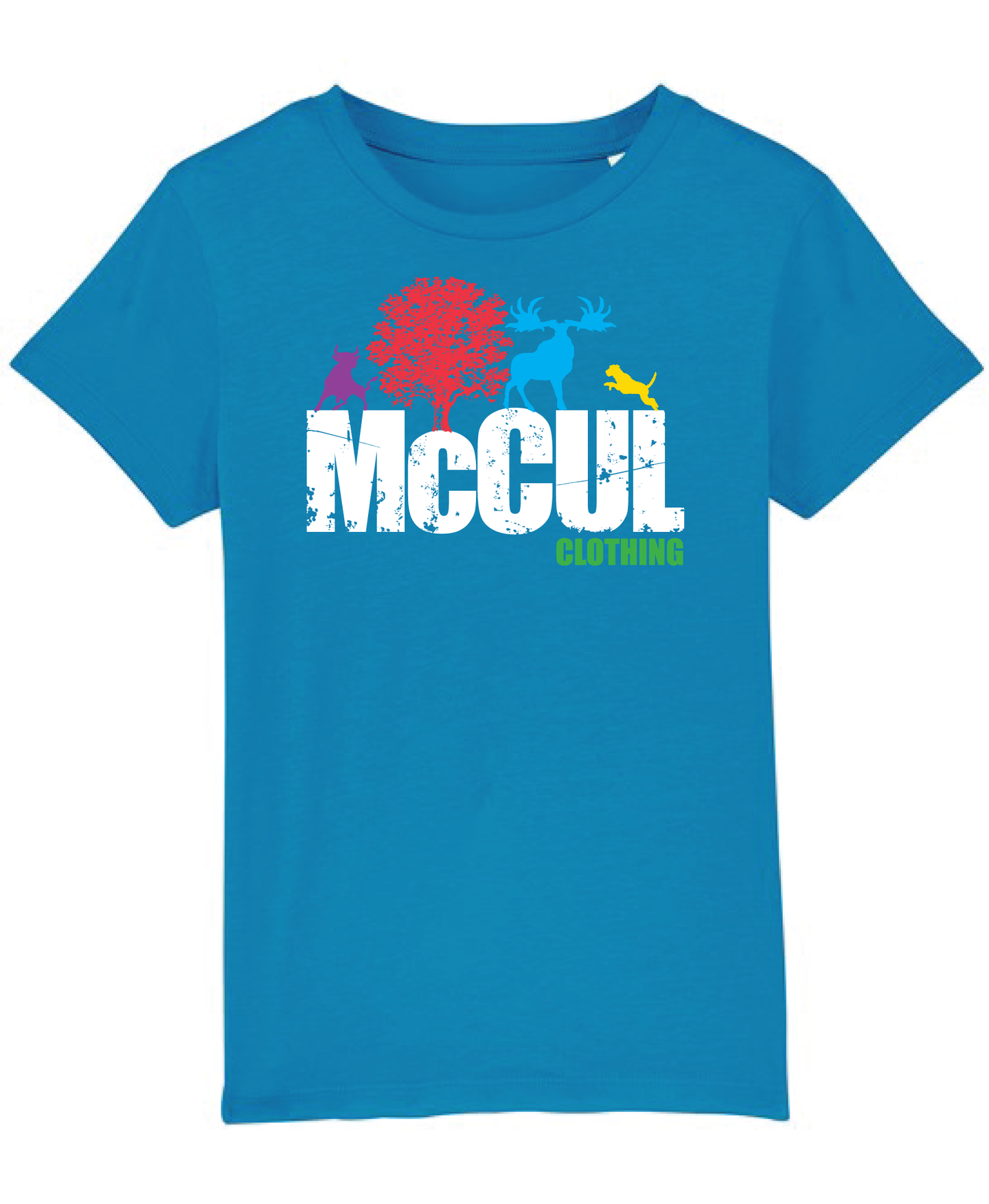 Boys New Azure Organic tee shirt with McCul logo.