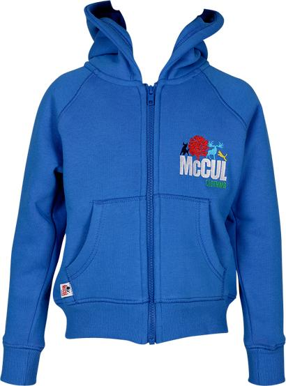 Boys Electric Blue Fleece Zip Hooded Jacket with Embroidery