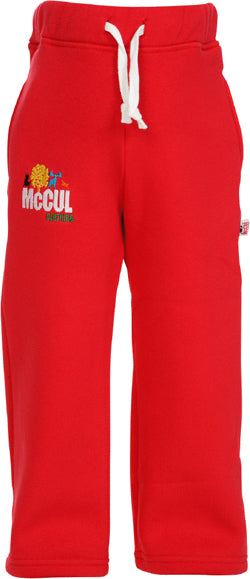 Girls Red Fleece Jogger with Multi Colour McCul Embroidered Logo