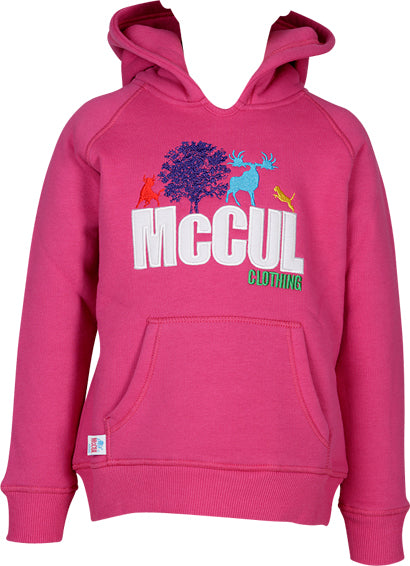Girls Cerise Fleece Hoody with Multi Colour McCul Embroidered Logo