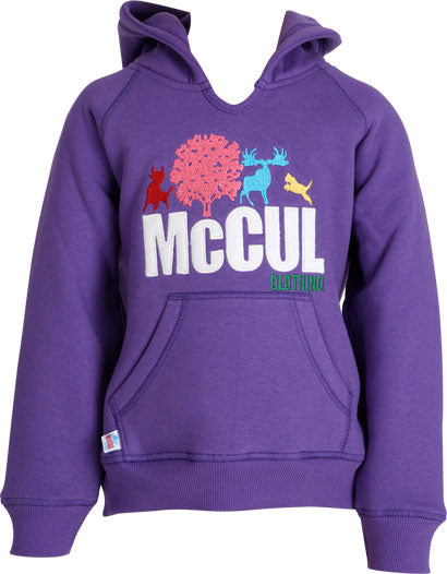 Girls Purple Fleece Hoody with Multi Colour McCul Embroidered Logo