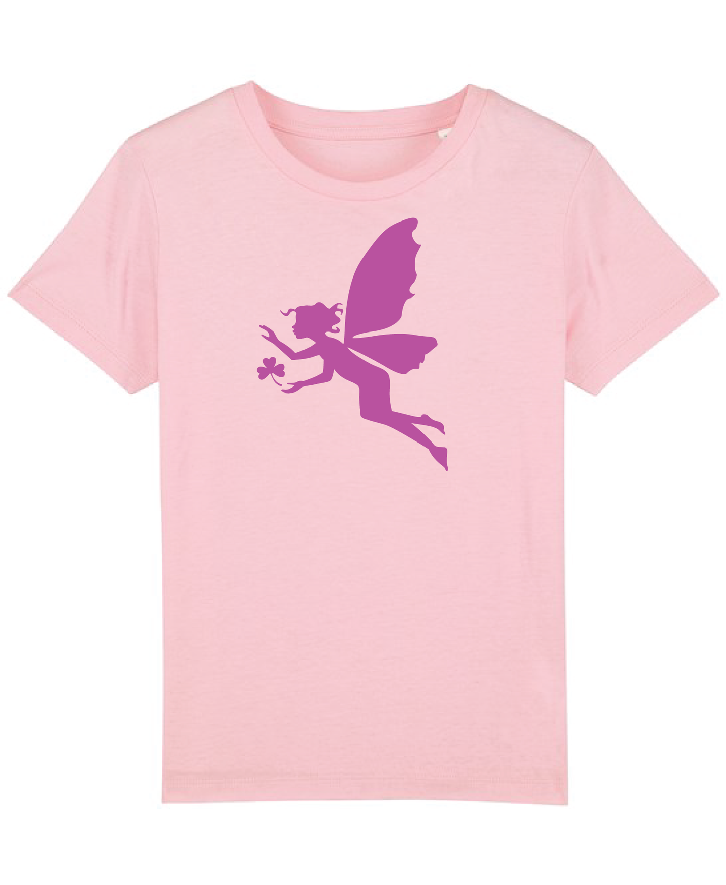 Girls New Pink Organic tee shirt with Fairy flock print.