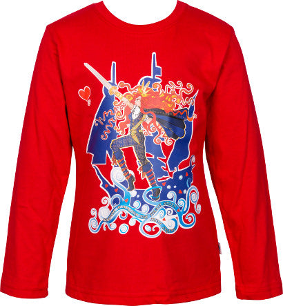 Girls Red Long Sleeve Top with Pirate Queen Full Colour Print