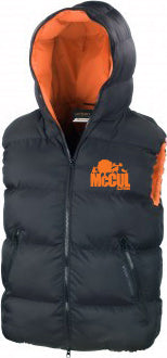 Adults Black Dax Down Sleeveless Puffa Jacket with Orange Contrast Embroidery