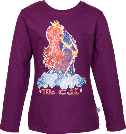 Girls Purple Long Sleeve Top with Pirate Queen Full Colour Print