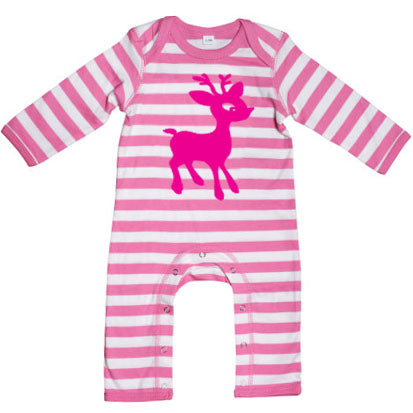 Babies Pink/White Stripe Soft and Stretchy Rompasuit with Flock Cartoon Elk