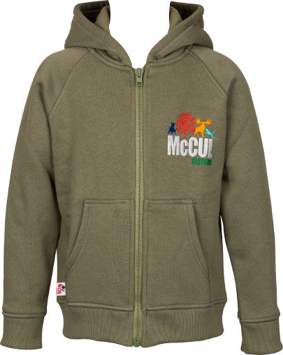 Boys Olive Green Fleece Zip Hooded Jacket with Embroidery