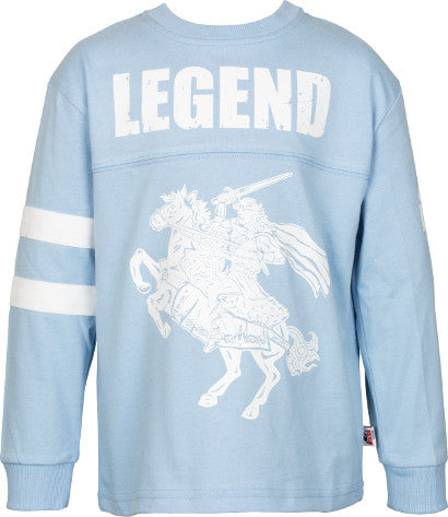 Boys Sky Blue Long Sleeve Top with Print on Front
