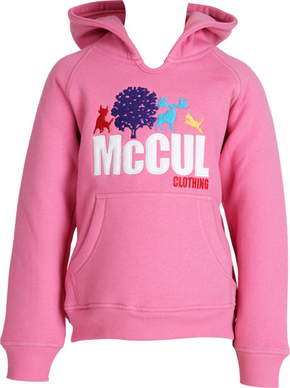Girls Pink Fleece Hoody with Multi Colour McCul Embroidered Logo