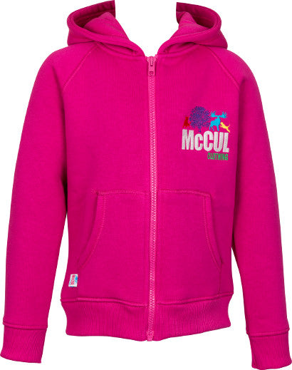 Girls Cerise Fleece Zip Jacket with McCul Embroidered Logo