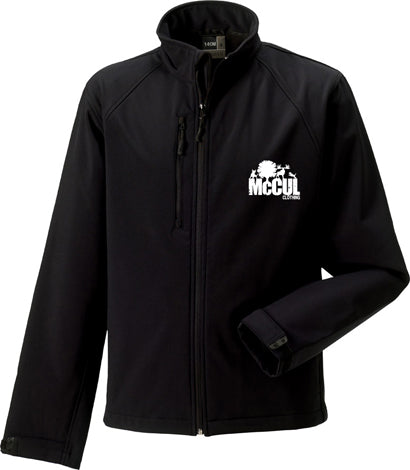 Mens Black Softshell Jacket with McCul Embroidery Wind Resistant and Waterproof