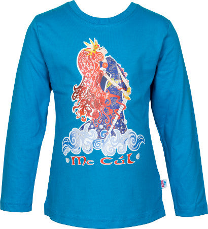 Girls Electric Blue Long Sleeve Top with Pirate Queen Full Colour Print