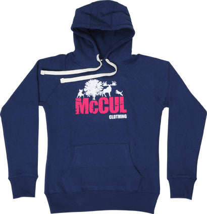 Ladies Navy Slim Fit Heavyweight Fleece Hoody with Flock Print