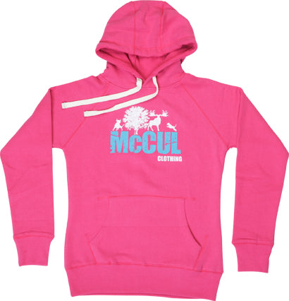 Ladies Cerise Slim Fit Heavyweight Fleece Hoody with Flock Print