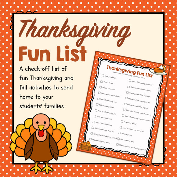Free Thanksgiving Fun List