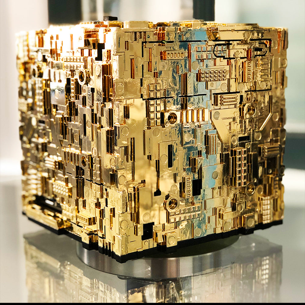 Star Trek Borg Micro Cube Pentium in Gold-Pressed Latinum color option | Borg Cube Computers and Cases